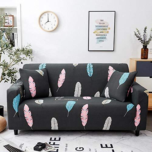 KOLIU Fundas elásticas para Fundas de sofá Funda de sofá elástica con Todo Incluido para sofá de Diferentes Formas Silla Loveseat Funda de sofá Estilo L-Multi Plumas_1 Asiento 90-140 cm_China