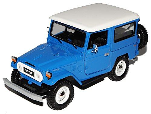 Motormax Toyota Land Cruiser FJ40 Blau mit Weiss 3 Türer 1960-1984 1/24 Modell Auto mit individiuellem Wunschkennzeichen