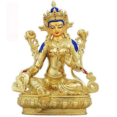 Reiner kupferer tibetischer Buddhismus Grüne Tara-Statue Bronzeskulptur der buddhistischen Buddha-Figur Bodhisattva Tara-Figur ~