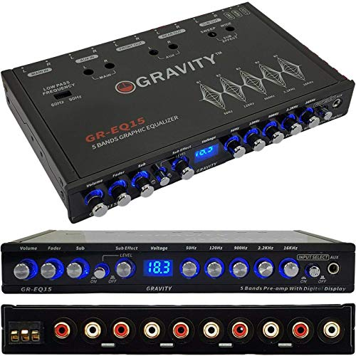 Gravity EQ15 1/2 Din Five Equalization Bands Car Audio Equalizer EQ Front, Rear +Master Volume Control with up to 9 Volts RMS of Output/Three Stereo RCA Output