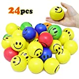 Vcostore Smile Face Stress Balls, 24 Pack of Funny Squeeze Balls Bulk