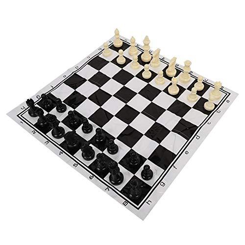 Delaman Ajedrez Portable Plastic International Chess Medieval Entertainment Juego de Mesa Juego Blanco y Negro