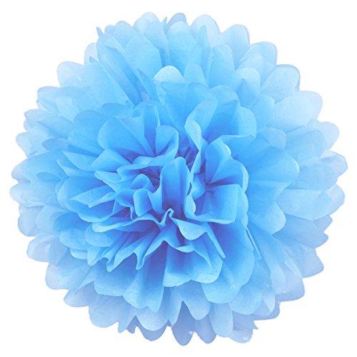 Simplydeko Pompoms 10er Set | Deko Pom-Poms aus Papier | Papierkugel zur Hochzeit oder Party | Papierblumen als Hochzeitsdeko | Seidenpapier Pompons | Hell-Blau | 30 cm