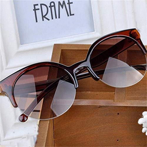 NZHK Gafas de Sol vidrios de los anteojos de Moda Retro diseñador de Super Redondo del círculo de los vidrios del Ojo de Gato de la Mujer Gafas de Sol polarizadas (Color : Brown)