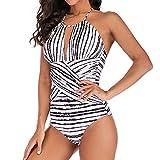 VEMOW Bikinis Heißer Elegante Damen Plus Size Kostüm Gepolsterter Badeanzug Monokini Sommerurlaub Push Up Bikini Sets Bademode(Schwarz, 36 DE/L CN)