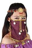 Grouptap Seidenbauchtanz sexy Gesicht Schleier Maske Kostüm Frauen Mädchen arabisch türkische Outfits mit Gold Schmuck Krawatte (Violett)