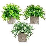 Künstliche Pflanzen, Kunstpflanzen im Topf Kleine Deko Pflanzen Künstlich für Schlafzimmer Küche Bad Garten Deko, 3 Stück