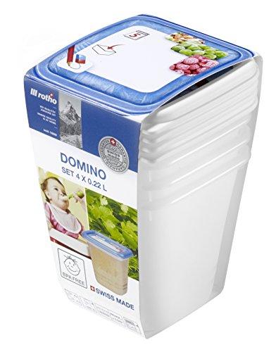 Rotho Domino 4er-Set Vorratsdosen , Kunststoff (BPA-frei), weiss mit beschreibbarem Deckel, 4 x 0.22 Liter (8 x8 x 7,5 cm)