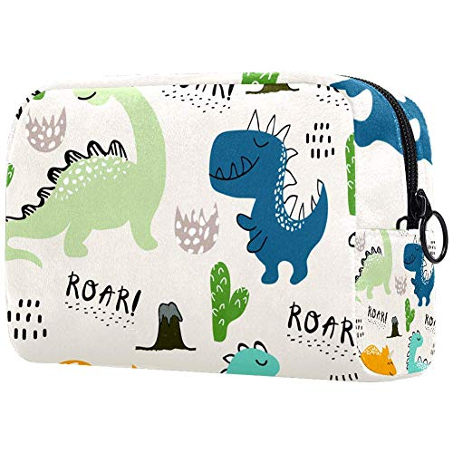 Bolsa de maquillaje infantil de dinosaurio portátil, bolsa de viaje, bolsa de maquillaje, bolsa de viaje, bolsa de viaje, bolsa de almacenamiento impermeable para mujeres y niñas,