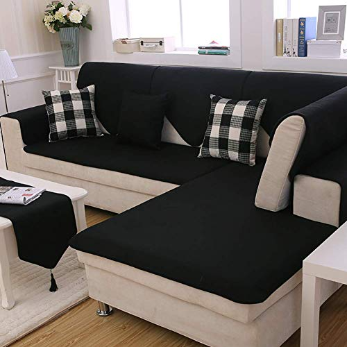 Jonist Funda de Lino para sofá, sofá seccional Antideslizante de Color sólido, Todo Incluido, combinación Universal de Cuatro Estaciones, Sala de Estar para el hogar, a 60x210cm (24x83 Pulgadas)