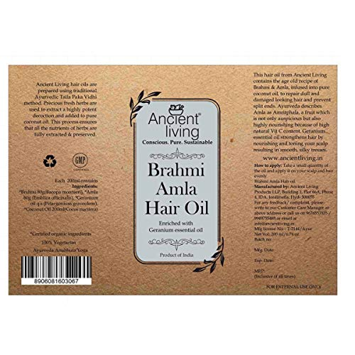 Ancient Living Brahmi & Amla Hair oil enriched with Gerenium essential oil - 200 ml