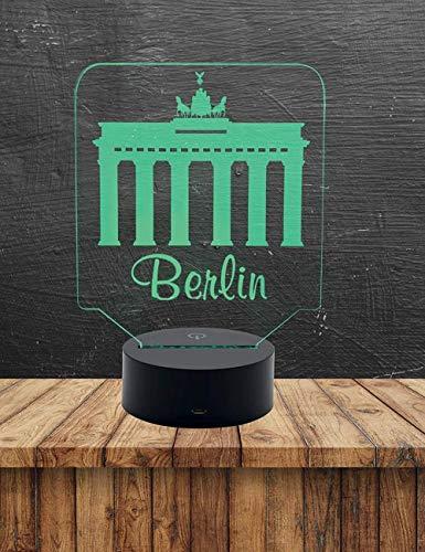 3D-Illusionslampe Nachtlicht Deutsches Hamburger Abzeichen-Brandenburgisches Tor, Berlin Geeignet für Kinder Familie Freunde Geburtstag Valentinstag7 Farben(Fernbedienung)