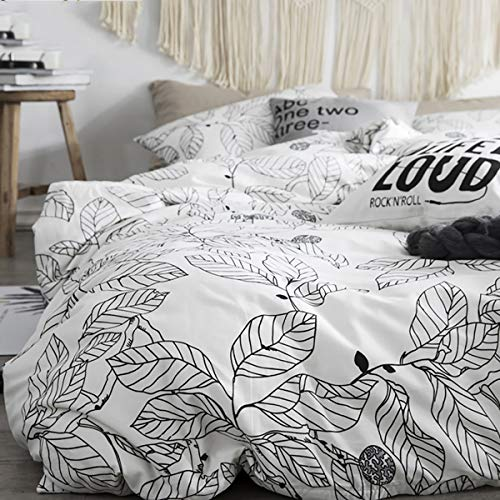 Uozzi Bedding 3 Piece Duvet Cover Set Queen (1 White Duvet Cover + 2 Pillow Shams) with Black Leaves 800 - TC Comforter Cover with Zipper Closure 4 Corner Ties for Men Women
