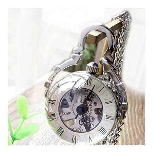 QB-Pocket watches Reloj de bolsillo Retro Hueco Reloj mecánico Tiempo Gema Cristal...