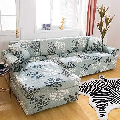 ASCV Fundas de sofá en Forma de L para Sala de Estar Material elástico sofá de Esquina Funda de Silla Funda de sofá sofá seccional A9 4 plazas