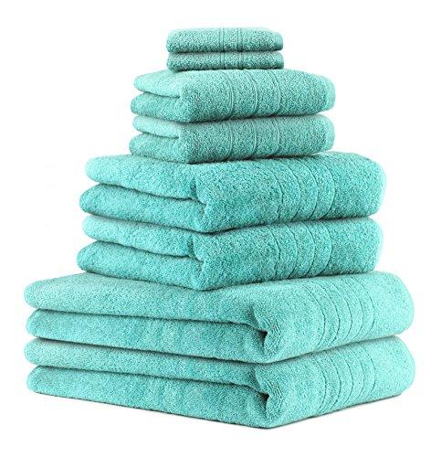 Betz Juego de 8 Piezas de Toallas Deluxe 100% algodón 2 Toallas de baño 2 Toallas de Ducha 2 Toallas 2 Toallas Cara Color Turquesa