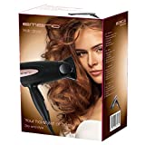 Emerio Hair Care Family, Haartrockner für die Reise, faltbarer Griff, 2 Heizstufen, 2 Geschwindigkeiten, Styling Düse, 1300 Watt, schwarz/roségold, HD-112870.1 - 5