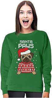 Santa Paws Pug Ugly Christmas Sweater Dog Women Sweatshirt