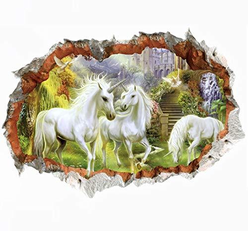 WandSticker4U®- 3D Wandtattoo Kinderzimmer EINHORN IM WALD I Wandbilder: 50x70 cm I Wandsticker Kinder Tiere Poster Pferde Einhörner Aufkleber I Wand Deko für Babyzimmer Mädchen