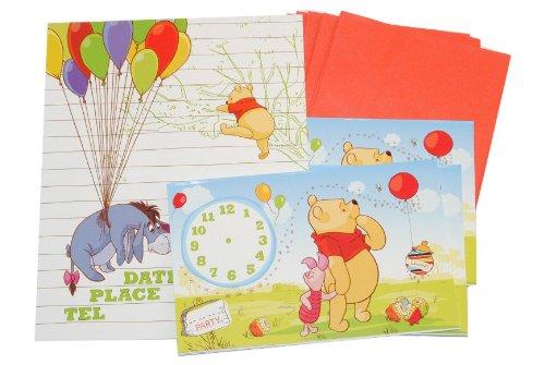 alles-meine.de GmbH 12 TLG. Set Einladungskarten Winnie The Pooh + Umschlag Party Einladung Karte Bär Tigger Ferkel bunt