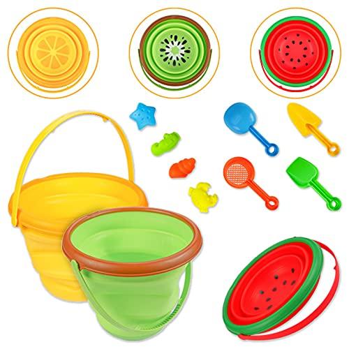 ThinkMax 11 Piezas de Juguete de Playa para niños, Juego de Arena de Playa Incluye Cubo de Fruta Plegable, moldes para Animales, Kits de Herramientas de Pala de Arena