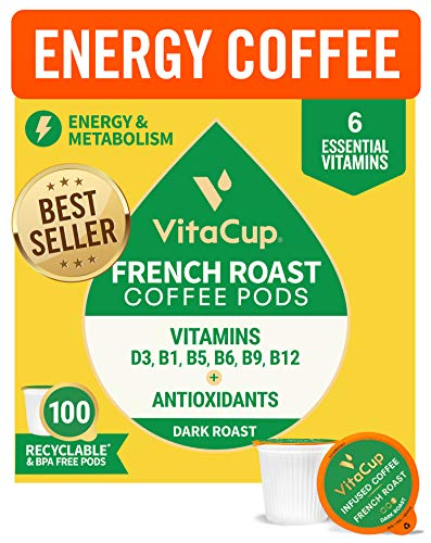 VitaCup Vitamin Infused Dark Roast Coffee Pods 100ct w/ Vitamins B12, B9, B6, B5, B1, & D3 For Energy in Recyclable Single Serve Pod Compatible with K-Cup Brewers Includi...