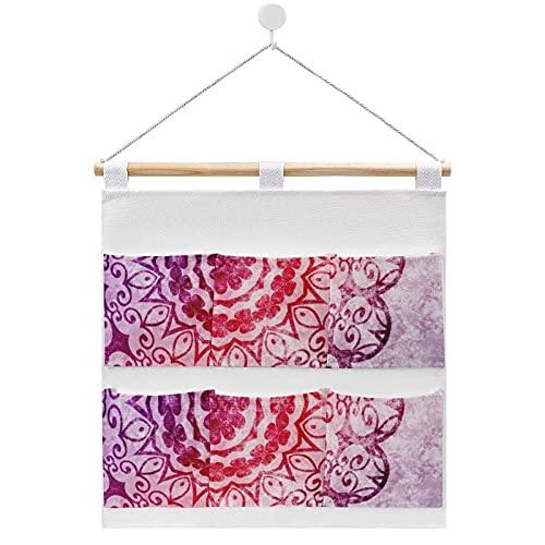 Bolsa de almacenamiento para colgar en la pared, diseño de mandala, color morado y con 6 bolsillos para la familia, baño, dormitorio, cocina