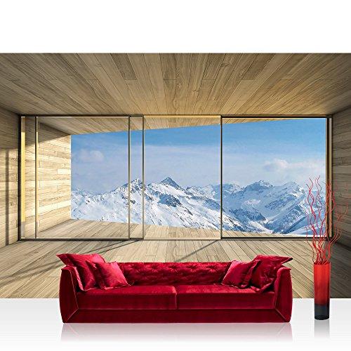 Vlies Fototapete 416x254cm PREMIUM PLUS Wand Foto Tapete Wand Bild Vliestapete - Landschaft Tapete Holz Raum Ausblick Berge Winter Schnee Alpen blau - no. 1894