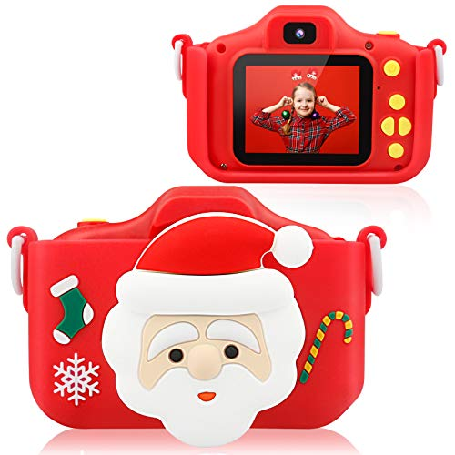 Tecboss Kids Camera Case with Adjustable Strap, Protective Silicone Cover Great Gift for 3-8 Kids, Compatible for hooroor/omzer/PROGRACE/YORKOO, Red