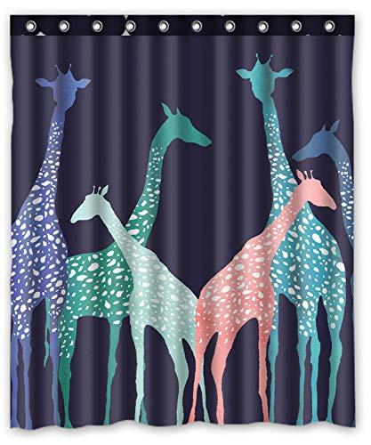 Sechs Giraffe Custom Wasserdicht Stoff Badezimmer Duschvorhang Giraffe 167,6cm (W) X 182,9cm (H)