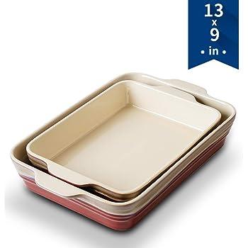 KOOV Ceramics Bakeware Set, Baking Dish Set, Rectangular Lasagna-Pans for Cooking, Cake Dinner, Kitchen, 9 x 13 Inches, Reactive Glaze 2-Piece (Rocky Red)