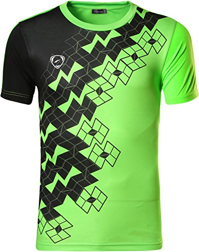 jeansian Hombre Camisetas Deportivas Wicking Quick Dry tee T-Shirt Sport Tops LSL111 Green L