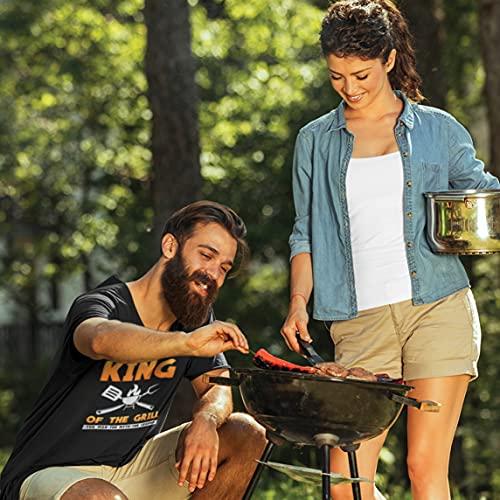 lepni.me Camisetas Hombre El Rey de la Parrilla Maestro de la Barbacoa Chef El Hombre El Mito La Leyenda (5XL Blanco Multicolor)