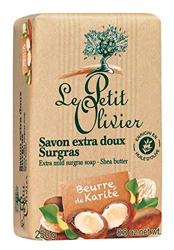 Le Petit Olivier - Savon Extra Doux Surgras Beurre de Karité - Fabriqué en France - Papier kraft 250 g