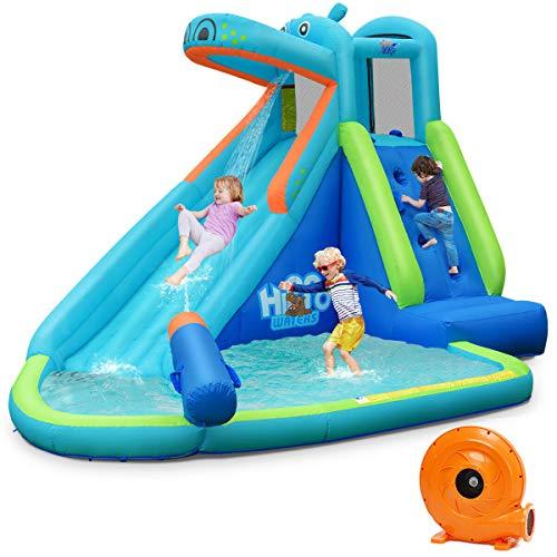 Alek...Shop Water Slide Play Bounce House Inflatable Splash Pool Slide Kids Easy Fun Game Family Center Slide w/740W Blower