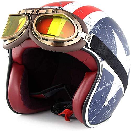 ZHXH Retro Helmet Motorcycle Harley Retro Helmet (goggles) M L Xl Xxl