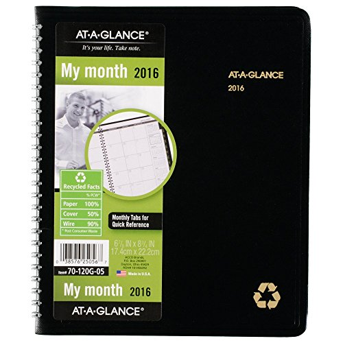 AT-A-GLANCE Monthly Planner 2016, Recycled, 6.88 x 8.75 Inches, Black (70-120G-05)