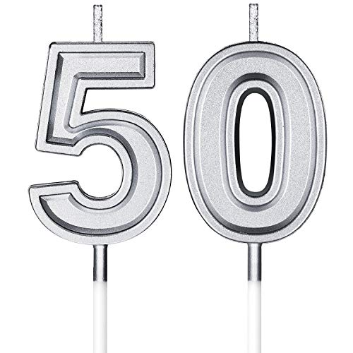 BBTO 50th Birthday Candles Cake Number Candles Happy Birthday Cake Topper Decorations for Birthday Wedding Anniversary Celebration Supplies (Silver)