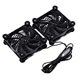 2PACK 120mm USB Quiet Fan with 3 Speed Controller for AV Receiver Wi-Fi Router