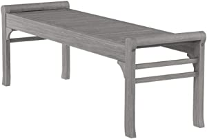 Vifah Renaissance Outdoor Patio 5-Foot Hand-Scraped Wood Backless Garden Bench