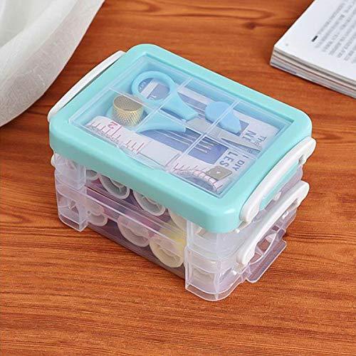 Kissral Kit de Costura Caja de Coser Costurero Plástico Transparente Multiuso Manualidades Organizador Incluye Hilo de Aguja Dedal Tijeras Regla
