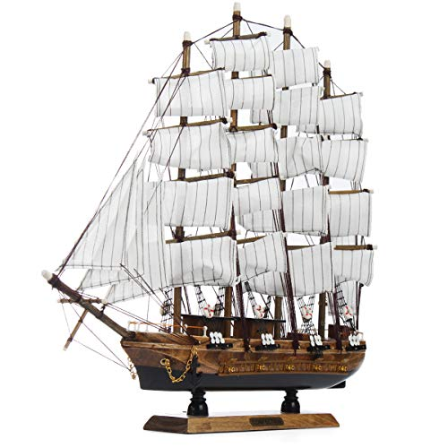 CCChaRLes 50Cm Handmade Wooden Sailing Boats Model Assembly Nautical Ship Schooner Boat Decorations Gift