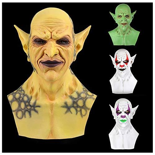 FLYM Halloween Horror Latex Vollgesichtsmaske, Dämon-Clown-Vampir Orc Maske, Karnevals-Nacht-Maskerade-Partei Rollenspiele Kostüm Requisiten,Gelb