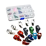 ROSENICE Guitar Finger Picks Stainless Steel with 15 Grid Storage Case for Guitar Bass 15pcs
