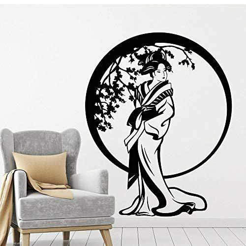 Blrpbc Adhesivos Pared Pegatinas de Pared Estilo japonés Geisha Geisha Flores Circulares Vintage para decoración de Sala de Estar calcomanías de Vinilo 86x68cm