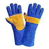 Jupiter Industries Barbeque Heat Resistant Gloves Temperature Upto 300 Degree Fahrenheit/150 Degree Celcius for Welding/Furnace/Stove/Fireplace/Tig/Mug - 16 Inches - Blue
