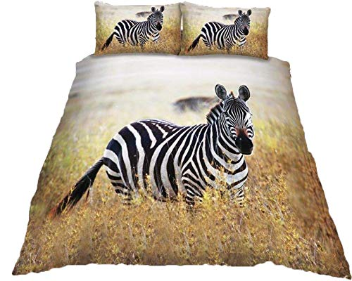 Duvet Cover Set 3D Animal Print Effect Quilt Bedding Set New (Zebra, Single)