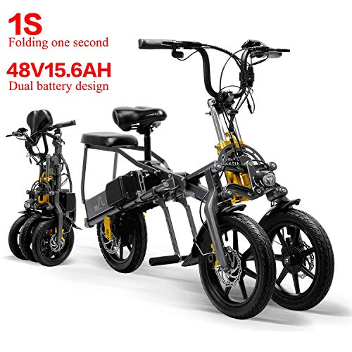Affordable LANKELEISI 48V 15.6AH 350W Mini Tricycle 2 Batteries Foldable Electric Tricycle 14 Inches...