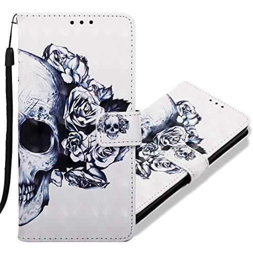 MRSTER Coque pour Sony Xperia 10, Etui Nouveau 3D Effet Cuir PU+TPU Silicone Carte Antichoc Support Portefeuille Magnétique Créatif Housse pour Sony Xperia 10. YB Skull Flower
