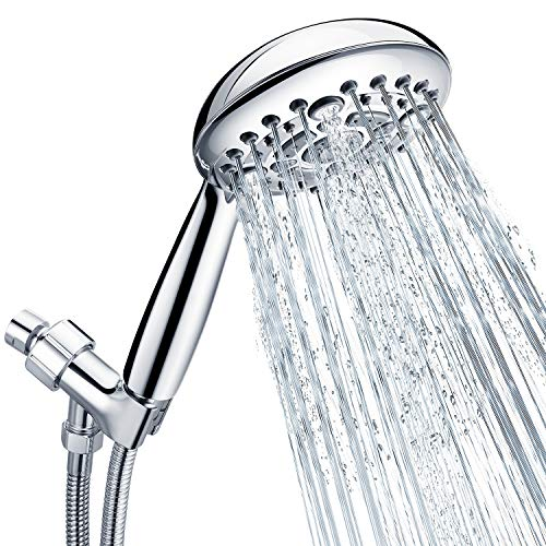 Handheld Shower Head, SR SUN RISE 6-Settings 4.8 Inches High Pressure Shower Head with 2.45 Meter/96 Inch Long 304 Stainless Steel Shower Hose and Shower Arm Mount with Brass Ball Joint,Chrome
